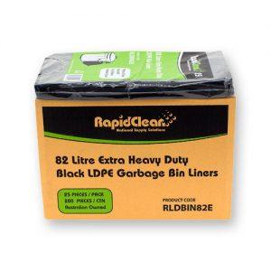 RapidClean Extra Heavy Duty Black LDPE Garbage Bags